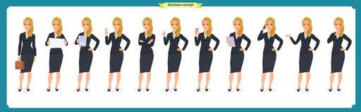 Ensemble de jeune femme d'affaires présentant dans différentes poses Caractère de personnes rester D'isolement sur le blanc Style illustration de vecteur