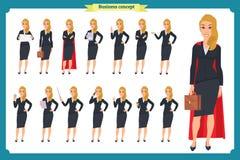Ensemble de jeune femme d'affaires présentant dans différentes poses Caractère de personnes rester D'isolement sur le blanc Style illustration libre de droits
