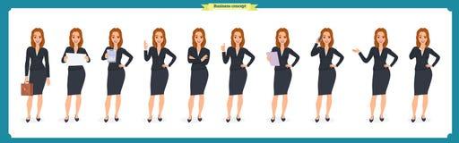 Ensemble de jeune femme d'affaires présentant dans différentes poses Caractère de personnes rester D'isolement sur le blanc Style illustration stock