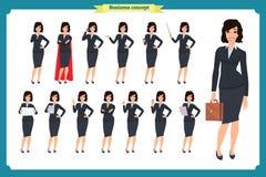 Ensemble de jeune femme d'affaires présentant dans différentes poses Caractère de personnes rester D'isolement sur le blanc Style Photographie stock libre de droits