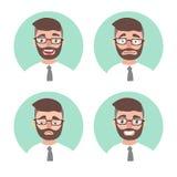 Ensemble de jeunes émotions d'homme de hippie avatars d'émotions de portrait d'employé de bureau Homme d'affaires d'illustration Photographie stock libre de droits
