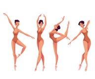 Ensemble de jeunes beaux danseurs dans les collants et des pantoufles de ballet Photographie stock libre de droits