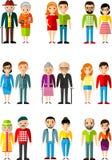 Ensemble de jeunesse différente d'âge de personnes de couples, maturité, vieillesse Images stock