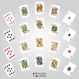 Ensemble de jouer des cartes : Dix, Jack, reine, roi, Ace Image libre de droits