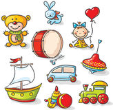Ensemble de jouets colorés illustration stock