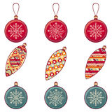 Ensemble de jouets de Noël de couleur lumière de vacances de guirlande de décorations colorée par ampoules de fond allumée Photos stock