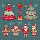 Ensemble de jouets de Noël de couleur lumière de vacances de guirlande de décorations colorée par ampoules de fond allumée Images libres de droits
