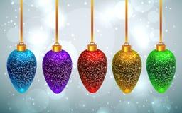 Ensemble de jouets miroités de Noël d'arc-en-ciel Photographie stock libre de droits