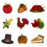 Ensemble de jour Apple, gland, Turquie, maïs, chapeau, tarte de potiron, icône de thanksgiving de feuille Images stock