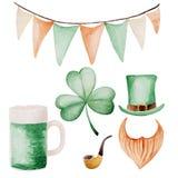 Ensemble de jour du ` s de St Patrick d'aquarelle Ornement de trèfle Pour la conception, la copie ou le fond Photographie stock