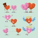 Ensemble de jour de valentines heureux de caractère de coeurs d'amour Photographie stock libre de droits