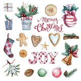 Ensemble de Joyeux Noël d'aquarelle illustration stock