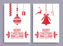 Ensemble de Joyeux Noël et de bonne année de bannières illustration libre de droits
