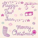 Ensemble de Joyeux Noël et de bonne année, carte Image libre de droits