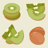 Ensemble de kiwi Fruit, morceaux et tranches entiers photo stock