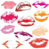 Ensemble de lèvres brillantes dans le baiser tendre. Photo stock