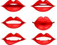 Ensemble de lèvres rouges avec différentes émotions dans le style de bande dessinée Image stock