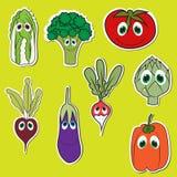 Ensemble de légumes avec des yeux Légumes mignons de griffonnage dans le vecteur plat de style d'isolement Photos libres de droits