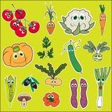 Ensemble de légumes avec des yeux Légumes mignons de griffonnage dans le vecteur plat de style d'isolement Photographie stock libre de droits