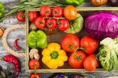 Ensemble de légumes crus dans le plateau en bois Images stock