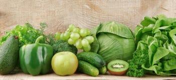 Ensemble de légumes et de fruits verts Image libre de droits