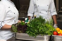 Ensemble de légumes frais et d'herbes sur une table en métal de restaurant images stock
