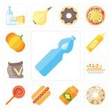 Ensemble de l'eau, beignet, miel, hot-dog, Jawbreaker, risotto, Flo Illustration de Vecteur