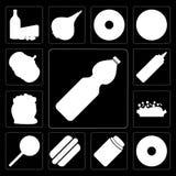 Ensemble de l'eau, beignet, miel, hot-dog, Jawbreaker, risotto, Flo Illustration Stock