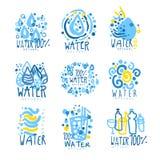Ensemble de l'eau ou d'aqua pour la conception de logo Boissons organiques, naturelles et saines Illustrations tirées par la main Image stock