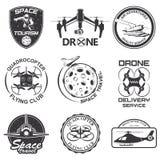 Ensemble de l'espace de vintage, bourdon, emblèmes de vol d'aéronautique, labels, insignes Photos stock