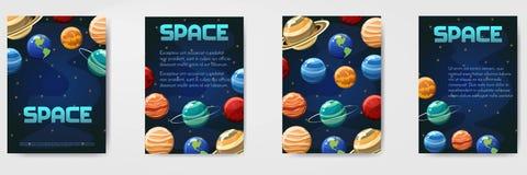 Ensemble de l'espace de vecteur différent, univers avec le calibre de planètes pour l'insecte, magazine, affiche, couverture, ban Photo stock