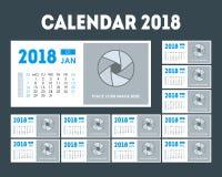 Ensemble de l'organisateur 2018 de calendrier de bande dessinée Vecteur Photographie stock libre de droits