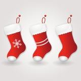 Ensemble de la botte de Santa rouge Fond de Noël illustration libre de droits