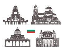 Ensemble de la Bulgarie Architecture d'isolement de la Bulgarie sur le fond blanc Photographie stock libre de droits