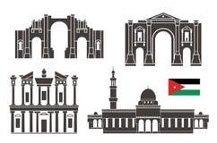 Ensemble de la Jordanie Architecture d'isolement de la Jordanie sur le fond blanc Images stock