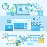 Ensemble de la ligne bannières de concept pour le marketing numérique Image stock
