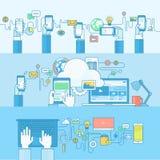 Ensemble de la ligne bannières de concept pour le Web et les services et les apps mobiles Photos libres de droits