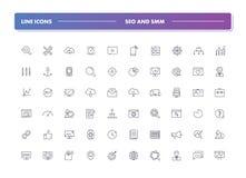 Ensemble 60 de la ligne icônes SEO et SMM Images stock