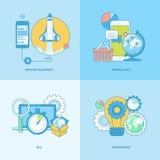 Ensemble de la ligne icônes de concept pour le développement mobile d'apps Image stock