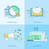 Ensemble de la ligne icônes de concept pour le marketing numérique Photos libres de droits