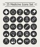 Ensemble 25 de la ligne icônes de médecine blanches sur le fond noir de cercle Photos libres de droits