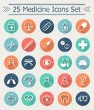Ensemble de la ligne icônes de médecine dans le style plat avec la longue ombre au milieu du cercle chaque icône Images libres de droits
