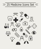 Ensemble de la ligne icônes de médecine en cercle Photo libre de droits