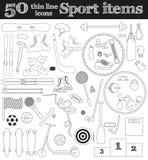 Ensemble 50 de la ligne mince icônes de sport Images libres de droits
