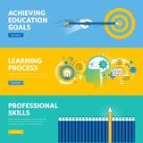 Ensemble de la ligne plate bannières de Web de conception pour l'éducation, apprentissage, qualifications professionnelles Photos stock
