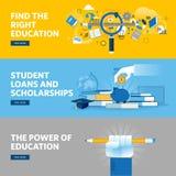 Ensemble de la ligne plate bannières de Web de conception pour l'éducation, les prêts d'étudiant, les bourses, le choix de l'éduc Image stock