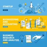 Ensemble de la ligne plate bannières de Web de conception pour le démarrage de société, les finances, la comptabilité et la compt illustration de vecteur