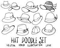 Ensemble de la ligne tirée par la main ENV de croquis de griffonnage d'illustration de chapeau Photos libres de droits