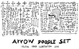 Ensemble de la ligne tirée par la main PE de croquis de griffonnage d'illustration d'arbre Images stock