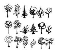 Ensemble de la ligne tirée par la main PE de croquis de griffonnage d'illustration d'arbre Images libres de droits